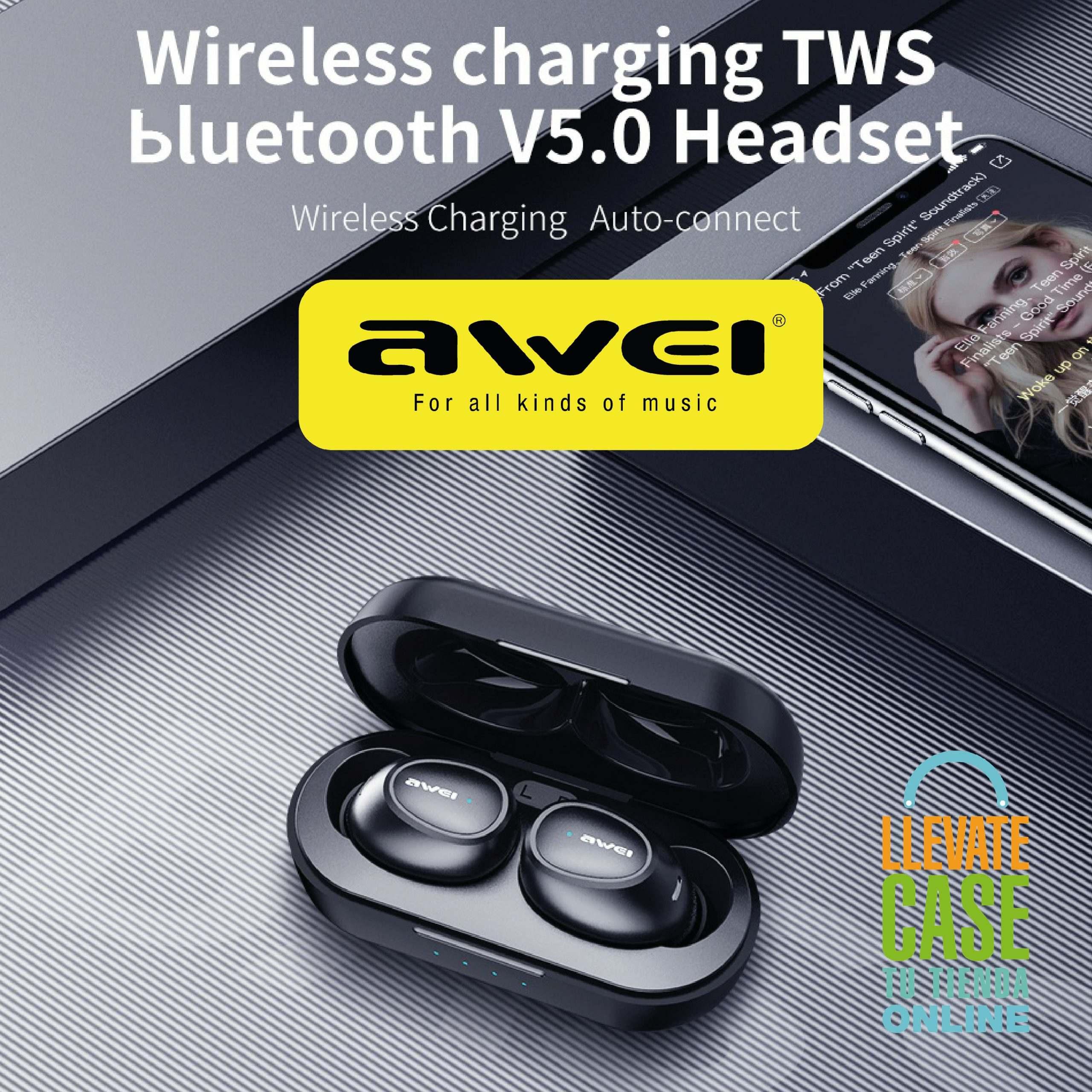 AWEI T6 EARBUDS con tecnología de carga inalámbrica.